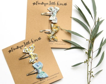 Liberty of London Baby Girl Hand Tied Fabric Bow Snap Clips 'Effie Series' Alligator Clips You Choose Designs and Quantity Australia