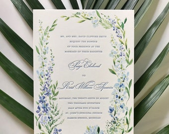Floral Watercolor Hand Painted Letterpress Wedding Invitation Suite, (Spring, Summer, Outdoor, Flowers, Custom, Wildflower, Plants, Natural)