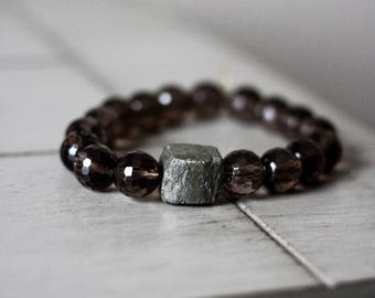 Ultimate Healing + Recovery from Illness Bracelet Smoky Quartz with a Pyrite Chunk