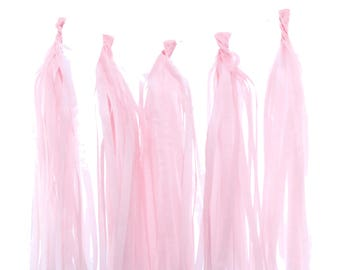Tassel Garland, Light Pink Tissue Paper Tassels (Set of 5) - Pink Party Streamers, Wedding Decorations, Tassel Party Banners, Photo Props