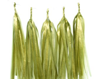 Tassel Garland, Gold Tissue Paper Tassels (Set of 5) - Gold Streamers, Wedding Banner, Party Backdrops, Birthday Party Supplies, Banners