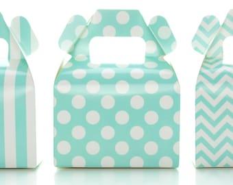 Candy Boxes, Aqua Blue Wedding Favors (36 Pack) - Polka Dot, Chevron Zig-Zag, Striped Mini Party Gift Boxes, Treat Box Birthday Decorations