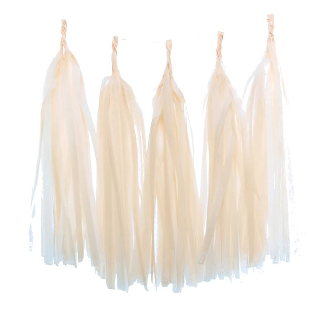 Tassel Banner, Paper Garland Tassels (Set of 5) - Peach Wedding Supplies, Tissue Tassel Garland, Birthday Decorations, Streamer Decorations