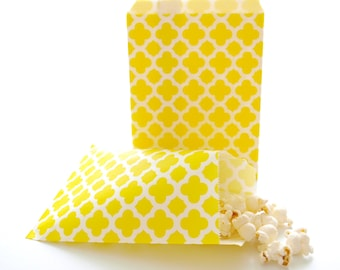 Yellow Spanish Tile Favor Bags (25 Pack) - Summer Wedding Bags, Paper Party Bags, Birthday Gift Bags