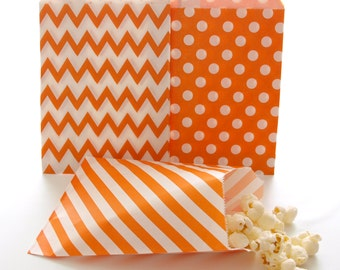 Orange Paper Party Bags, Orange Candy Bags, Wedding Favor Sacks, Orange Goody Bags, 75 Pack - Orange Striped, Chevron & Polka Dot Bags