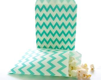 Teal Blue Chevron Bags, Party Bag Favors, Kids Goodie Bags, Chevron Gift Bags, Wedding Favor Bags, 25 Pack - Sea Green Chevron Paper Bags