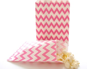 Hot Pink Paper Bags, Baby Shower Gift Bags, Candy Buffet Bags, Paper Lunch Bags, Spa Party Gift Bags, 25 Pack - Hot Pink Chevron Bags