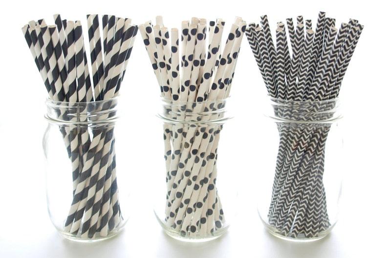 Old Fashioned Striped Straws 75 Pack Black Straws Chevron /& Polka Dot Straws Vintage Paper Straws Party Drinking Straws Black Stripe