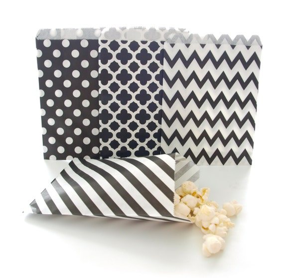 25 paper Red And Orange Chevron Zig Zag sweet bags Gift Bags Party Favour Bag