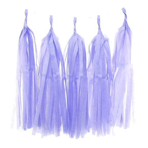 Paper Garland, Light Purple Lavender Tassel (Set of 5) - Party Banner, Wedding Tassels, Childrens Party Supplies, Tissue Party Decorations