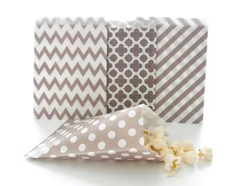 Silver Paper Party Bags (100 Pack) - Stripe, Chevron, Spanish Tile, Polka Dot - Bulk Party Supplies, Candy Buffet Wedding Favor Bags