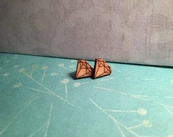 Diamonds - Wooden Laser Cut Earrings