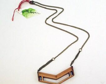 Chevron Wooden Laser Cut Necklace