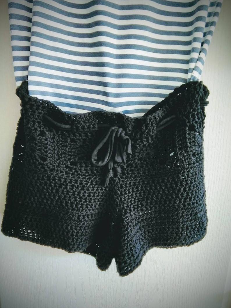 Low Rise Bikini Crochet Shorts Black Crochet Bikini Bottom Etsy