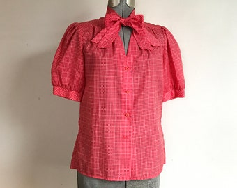 2b71e8afbe7 Vintage 1980s Act III Red and White Checkered Short Puffy Sleeve Blouse Top  Shirt with Bow Necktie