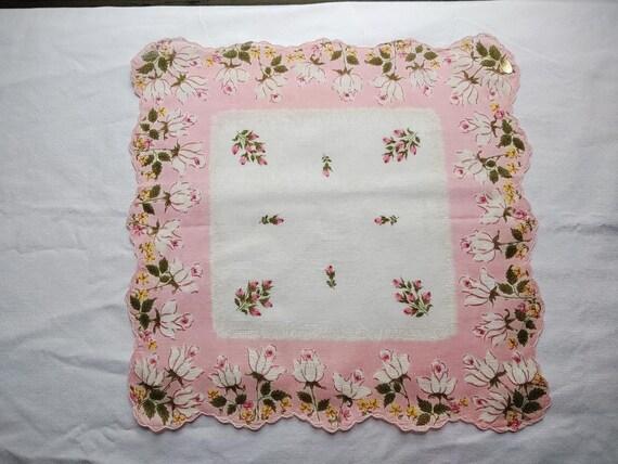 vintage set of 4 tulip print handkerchiefs - image 4