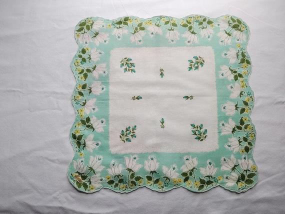 vintage set of 4 tulip print handkerchiefs - image 1