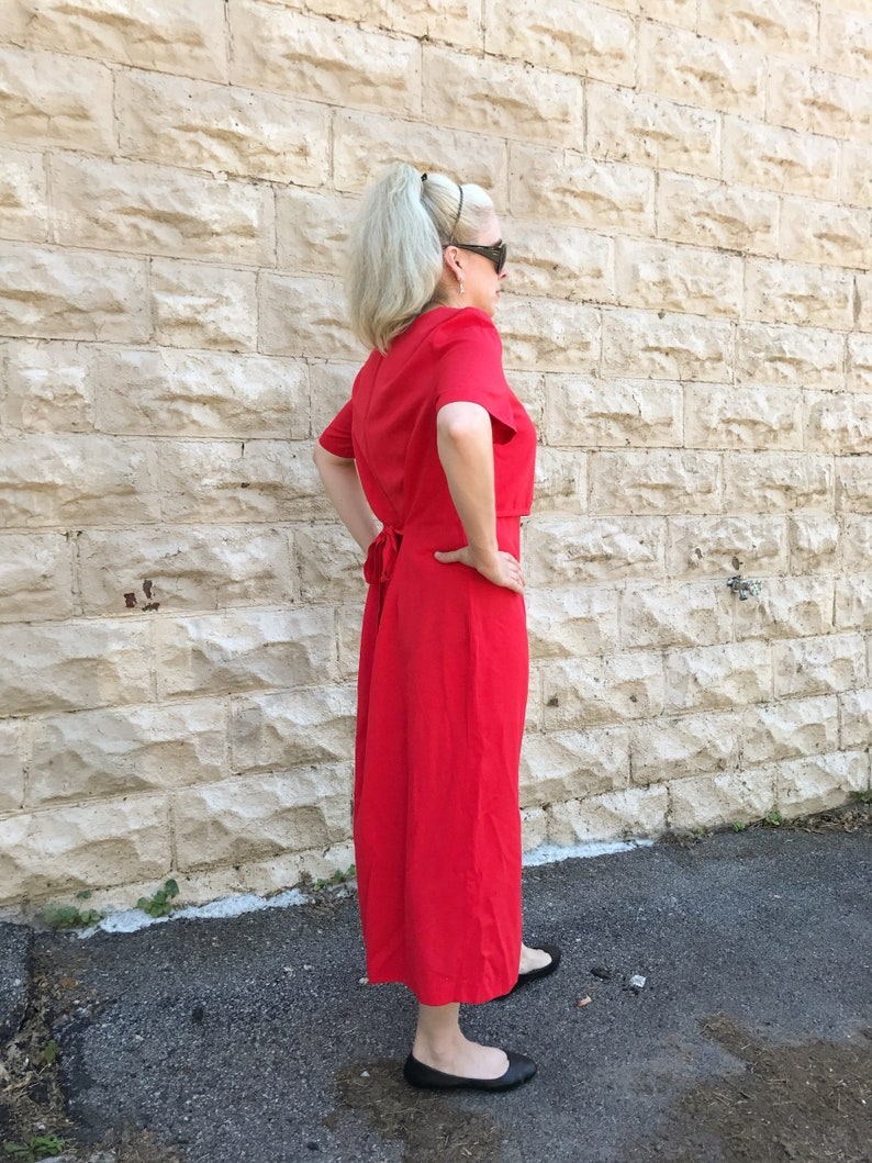 Vintage Jennifer James Cute Summer Pink Red Long Summer Dress with Buttons Down Front and Tie in Back