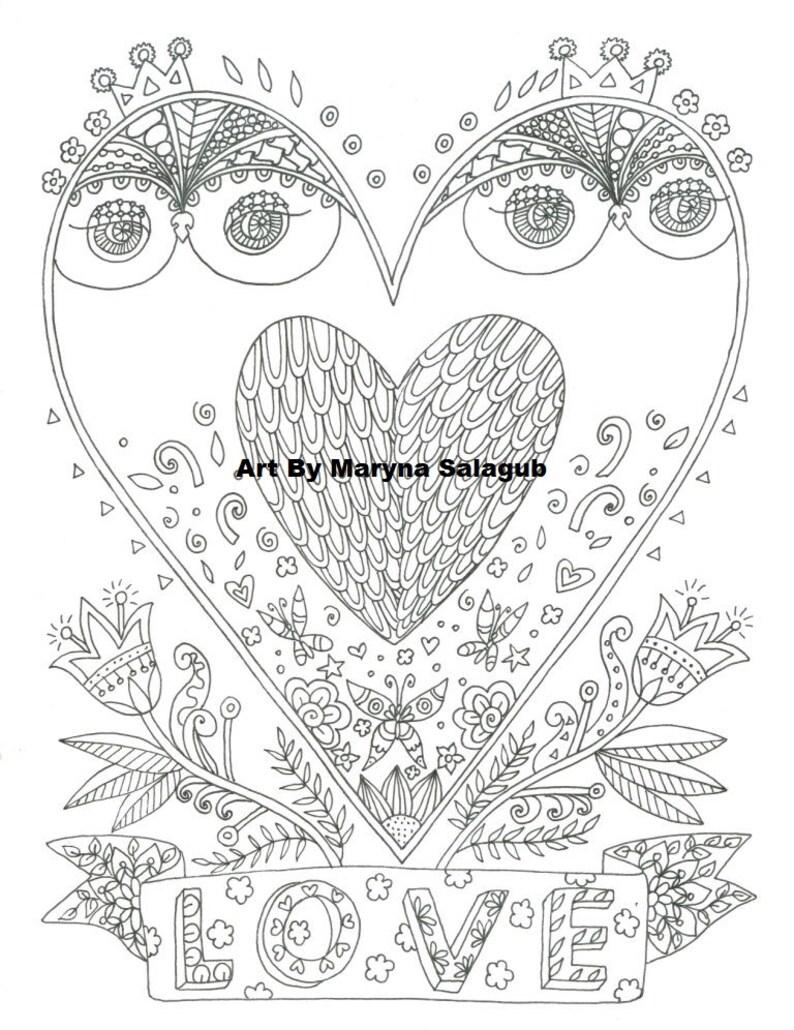 Mooie Kleurplaten Over Liefde.Kleurplaat Pagina Die Van Je Houdt Uil Liefde Valentijnsdag Etsy
