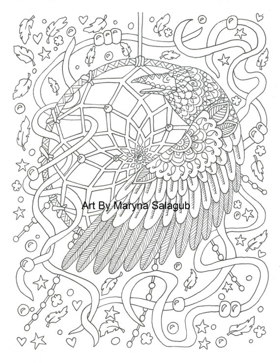 picture about Dream Catcher Printable called Coloring web site dreamcatcher crow raven desire catcher Printable down load birthday celebration artwork report Kids grownup shipping craft chicken do it yourself