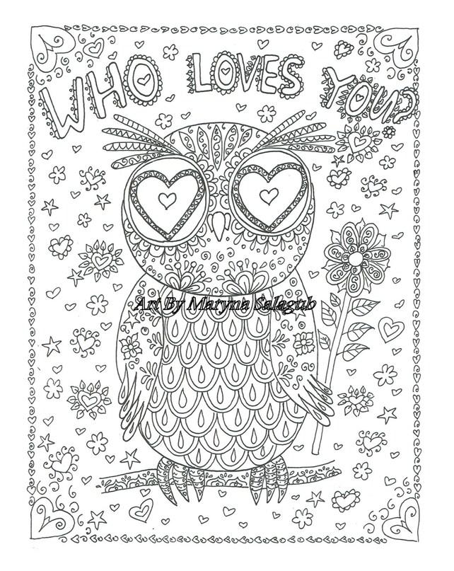 Página que te ama para colorear tarjeta buho amor San Valentín | Etsy