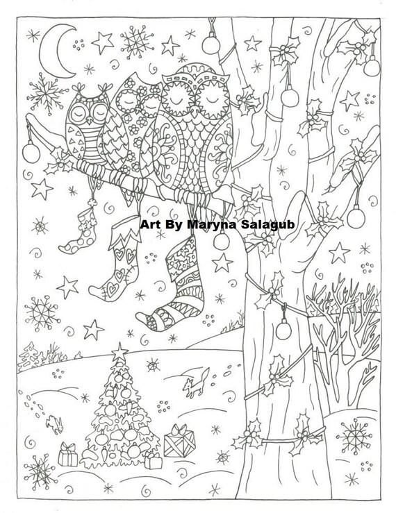 Coloriage Avril Chouette.Bas De Chouette Noel Coloriage Art Page Telechargement Impression Couleur Imprimable Numerique Digital Timbre Doodle Bricolage Zentangle Noel Vacances