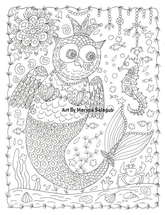 Volwassen Kleurplaten Uil.Kleurplaat Pagina Zeemeermin Uil Liefde Oceaan Zeepaard Steampunk Printbare Verjaardag Partij Kunst Bestand Kinderen Volwassen Aanbod Ambachtelijke