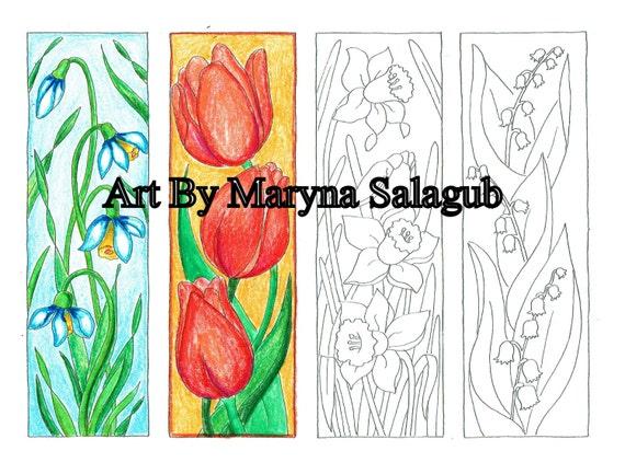 Marcadores de la página de colorear flores de primavera | Etsy