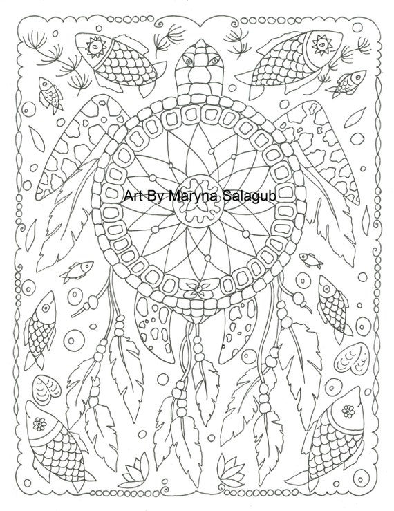 picture about Dream Catcher Printable called Coloring web page dreamcatcher turtle aspiration catcher Printable down load birthday bash artwork record Small children grownup Provide craft chook do-it-yourself