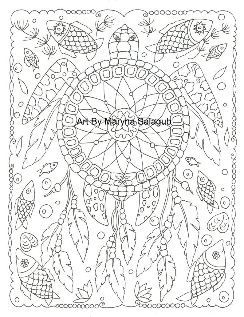 - Coloring Page Dreamcatcher Turtle Dream Catcher Printable Etsy