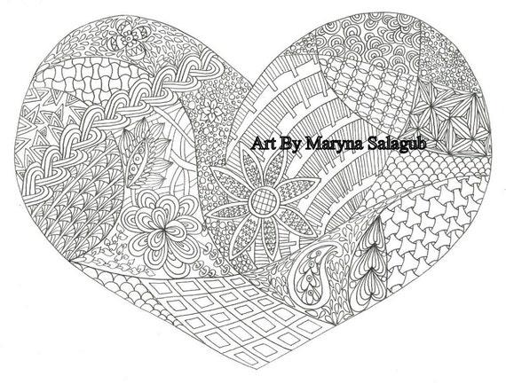 Colorear página corazón amor día de San Valentín tarjetas para   Etsy