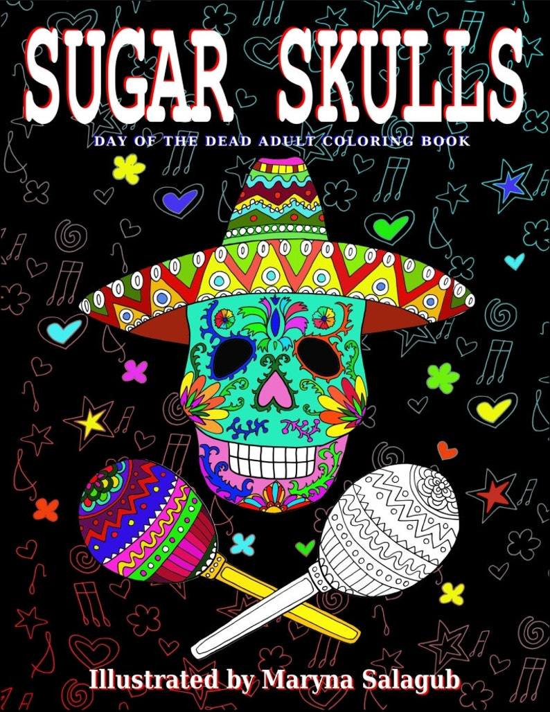 Sugar Skull coloring book 20 pages Day of the Dead Halloween Digital file  download print color yourself stamp printable zentangle art adult