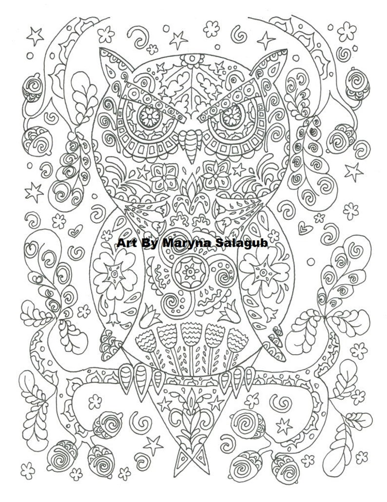 Coloring Page Owl Download Print Color Digital File Coloring Etsy