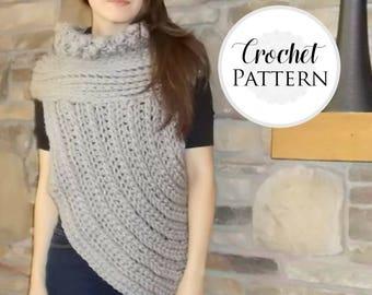 Cross Body Cowl CROCHET PATTERN - Archer Cowl - Huntress Vest Crochet Pattern - Asymmetrical Cowl  - Women's and Plus Sizes