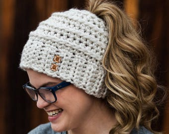 Ponytail Hat - Beehive Bun Beanie - Messy Bun Hat - Pony Hat - Messy Bun Beanie - Women's Bun Beanie - Pony Hat - Christmas Gift for Her