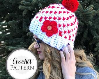 Women's Heart Hat CROCHET PATTERN - Super Chunky Heart Beanie Pattern - Warm Fair Isle Hat Crochet Pattern - Valentine's Day Crochet Pattern