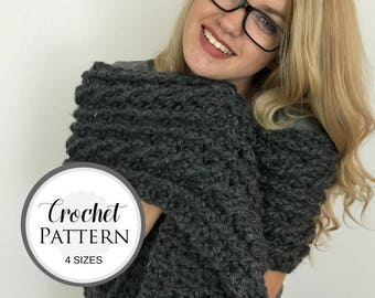CROCHET PATTERN for Oversized Cable Scarf - Oversized Scarf Crochet Pattern - Cable Scarf Crochet Pattern
