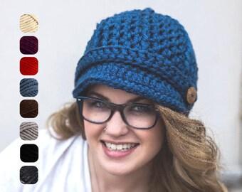 Winter Newsboy Cap - Women's Newsboy Hat - Crochet Hat with Visor - Handmade Knit Visor Cap - Women's Winter Hat with Brim - Christmas Gift