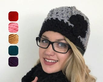 Women Beanie with Flower - Women's Winter Cap - Chunky Winter Touque - Super Chunky Beanie - Winter Hat with Flower - Warm Winter Hat