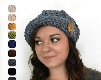 Womens Flapper Hat - Winter Hat - Chunky Newsboy Cap with Visor - Newsboy Hat - Button Hat - Art Nouveau Winter Hat - Women's Handmade Hat