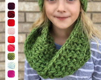 Girl's Scarf - Chunky Scarf - Kid's Scarf - Wrap Scarf - Knit Scarf - Knit Infinity Scarf - Child's Cowl - Gift for Girl