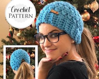 Low Pony Bun Hat CROCHET PATTERN - Pattern for Crochet Low Ponytail Hat - Low Bun Beanie Crochet Pattern - Bun Hat Pattern