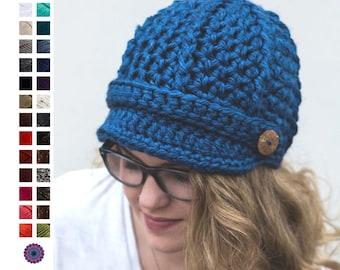 be0ed9ab45d Ready to Ship Women s Ribbed Newsboy Cap - Newsboy Hat - Crochet Hat with  Visor - Handmade Knit Visor Cap - Women s Winter Hat with Brim
