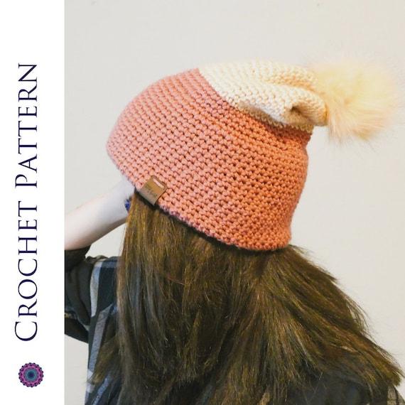 Easy Double Brim Slouch Hat CROCHET PATTERN - Crochet Double Brimmed Hat -  Crochet Double Brim Beanie - Beginner Crochet Women s Winter Hat 0412ac29fee