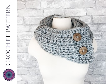 CROCHET PATTERN Chunky Button Scarf - Infinity Cowl - Traditional Scarf with Buttons