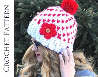 Women's Heart Hat CROCHET PATTERN - Super Chunky Heart Beanie Pattern - Warm Fair Isle Hat Crochet Pattern