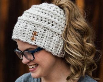 CROCHET PATTERN The Original Beehive Messy Bun Hat - Messy Bun Beanie Pattern with Bow - Ponytail Hat Crochet Pattern - Bow Bun Beanie