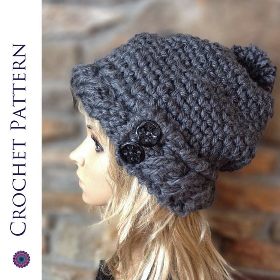 Slouchy Hat Crochet Pattern Slouch Hat Cable Cuff Slouch Etsy