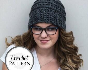 Beehive Beanie CROCHET PATTERN - Striped Beehive Hat Pattern - Women's Beanie Crochet Pattern - Womens Toque Pattern - Textured  Hat Pattern