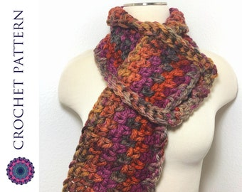 CROCHET PATTERN | One Skein, One Hour, Super Chunky Pull Through Scarf - Keyhole Scarf